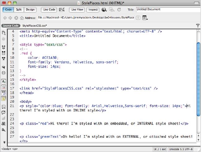 Dreamweaver tutorial: In the Code view in Dreamweaver