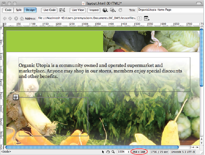 Dreamweaver tutorial adding main and sidebar content areas in the width and height of an ap div are updated in the status bar as you draw the div fandeluxe Image collections