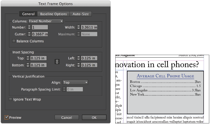 InDesign tutorial: Text frame options in InDesign