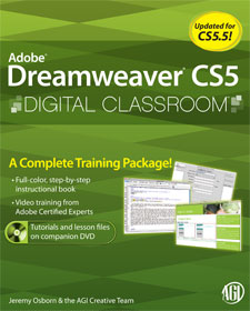 Dreamweaver CS5 Digital Classroom Book with video training