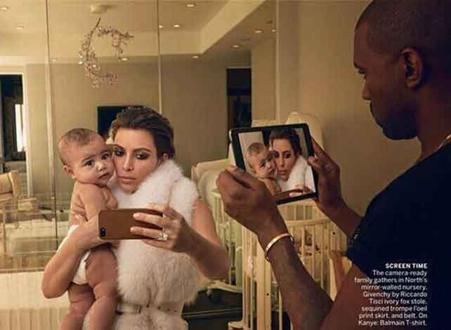 bad use of photoshop causes Kanye West's reflection to disapper.