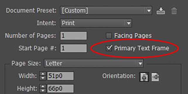 InDesign Primary Text Frames